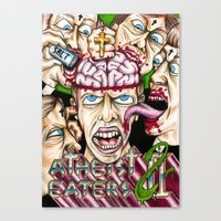 atheist Canvas Prints featuring Atheist Eaters II by Adam Bright