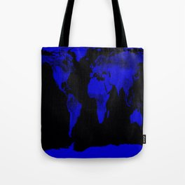 worlD Map Blue & Black Tote Bag