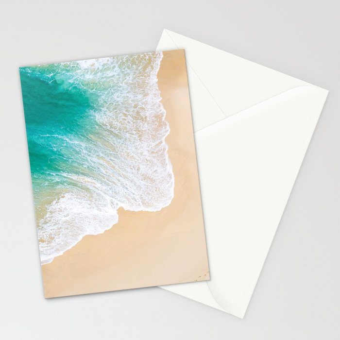 Sand Beach - Waves - Drone View Photography Stationery Cards
