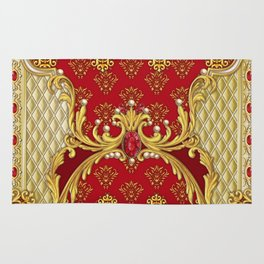 Decorative composition with perls,rubies and golden elements Rug