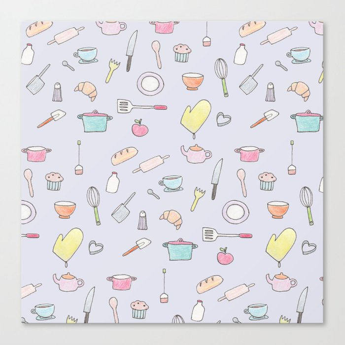 Cooking Pattern Canvas Print