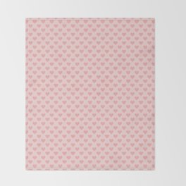 Large Blush Pink Lovehearts on Light Pink Throw Blanket