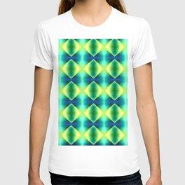 Green Yellow Geometric Metallic Diamond Pattern T-shirt
