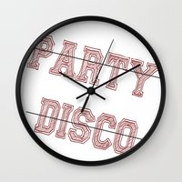 talking heads Wall Clocks featuring Talking Heads - No Party, No Disco by Taylor Starnes