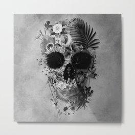 Garden Skull B&W Metal Print