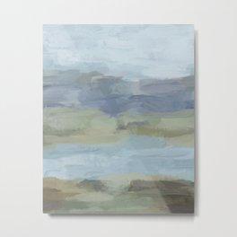 Sky Gray Blue Sage Green Abstract Wall Art, Painting Art, Lake Nature Painting Print, Modern Metal Print