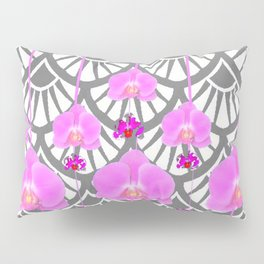 CERISE PINK ORCHID FLOWERS GREY DECO PATTERN ABSTRACT ART Pillow Sham
