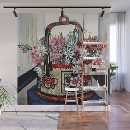 """Basket of Flannel Flowers"" by Margaret Preston Wall Mural"
