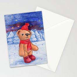 bear with sock cap Stationery Cards