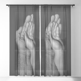 Father and child / Photograph of father and child hands pressed together Sheer Curtain