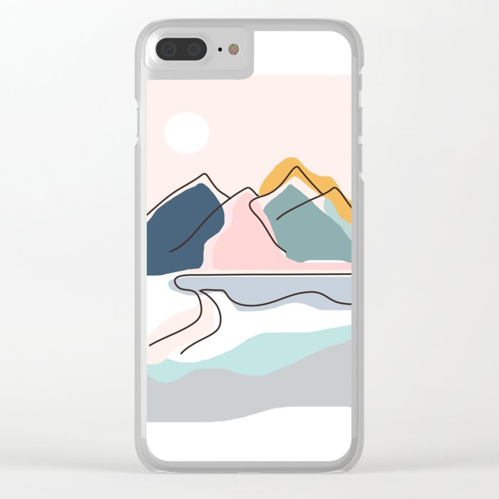 Minimalistic Landscape Clear iPhone Case
