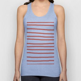 Simply Drawn Stripes in Deep Coral Unisex Tank Top