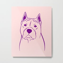 American Staffordshire Terrier (Pink and Purple) Metal Print