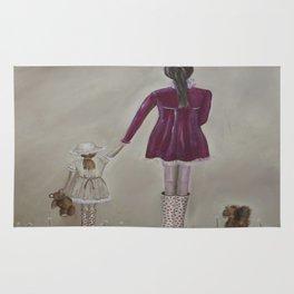 girl and dog Rug