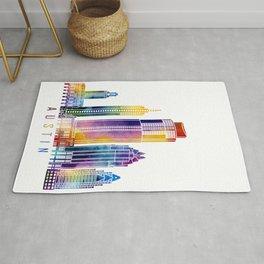 Austin skyline landmarks in watercolor Rug