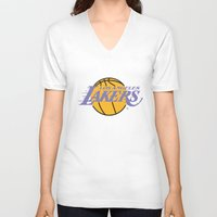 lakers V-neck T-shirts featuring Lakers by Dexter Gornez
