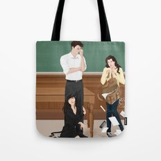 the professor, the pet and the frightened rabbit Tote Bag