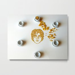 John Lennon's face made out of cornflakes Metal Print