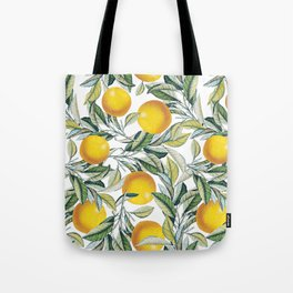 Lemon and Leaf Pattern VI Tote Bag