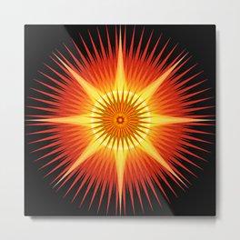 Sun Urchin Mandala Metal Print