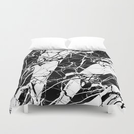 Rays Of Marble - Black and White, marble textured, abstract art Duvet Cover