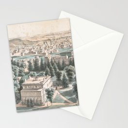 Vintage Pictorial Map of Newark NJ (1853) Stationery Cards