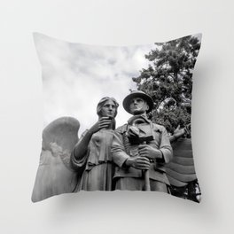 War Memorial - Angel and Soldier Black and White Photo Throw Pillow