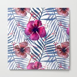 Hibiscus and Palm Trees Leaves Metal Print
