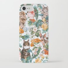 Cat and Floral Pattern III Slim Case iPhone 7