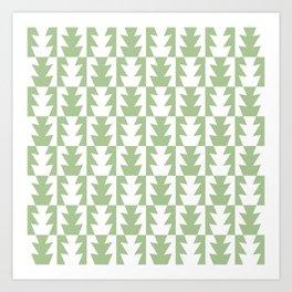 Art Deco Jagged Edge Pattern Sage Green Art Print