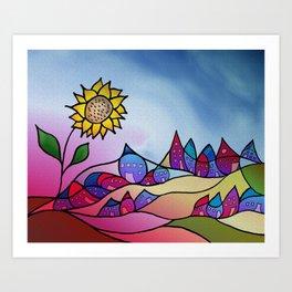 my little village and its sun -3- Art Print