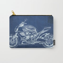 Motorcycle blueprint, Diavel CCarbon 2012, man cave decoration, white line drawing, poster for teen Carry-All Pouch