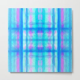 Turquoise and Pink Abstract Plaid Design 747 Metal Print
