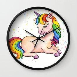 Sleeping Rainbow Unicorn Wall Clock