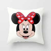 minnie mouse Throw Pillows featuring Minnie Mouse by Yuliya L
