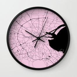 Dublin Ireland Pink on Black Street Map Wall Clock