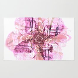 Abstract digital flower in pink Rug