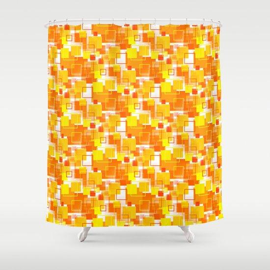 Mid Century Modern Orange Shower Curtain By Mellowcat Society6