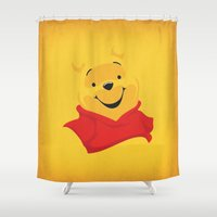 winnie the pooh Shower Curtains featuring Winnie the Pooh Nursery Art Retro Style Minimalist Poster Print by The Retro Inc
