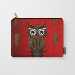 Wonderful steampunk owl on red background Carry-All Pouch