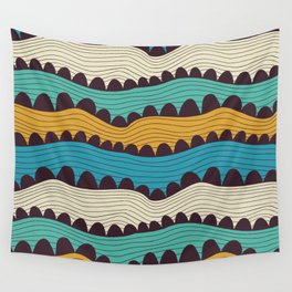 Waves ornament in yellow-blue colors Wall Tapestry