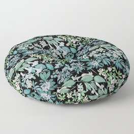 white floral pattern on black background Floor Pillow