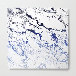 Modern white marble blue ombre navy blue watercolor gradient fade Metal Print