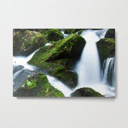 Mossy Rock and Water Fall Metal Print