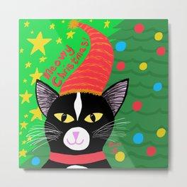 Christmas Cat Tuxedo Yellow Eyes Metal Print