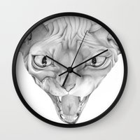sphynx Wall Clocks featuring Sphynx by BlackNYX