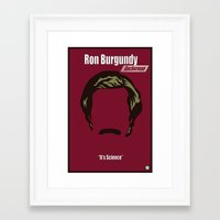 anchorman Framed Art Prints featuring Ron Burgundy: Anchorman by BC Arts