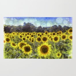 Sunflower Fields Of Dreams Van Goth Rug
