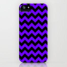 Black and Indigo Violet Horizontal Zigzags iPhone Case