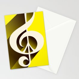 Yellow Retro Shadow Music & Peace Stationery Cards